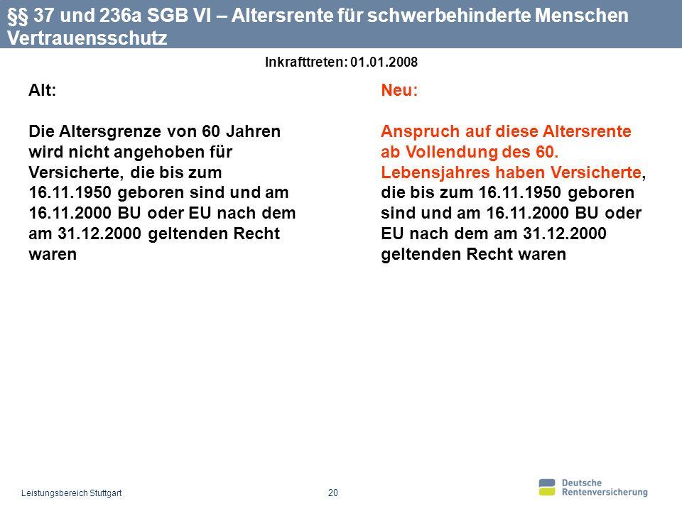 §§ 37 und 236a SGB VI – Altersrente für schwerbehinderte Menschen