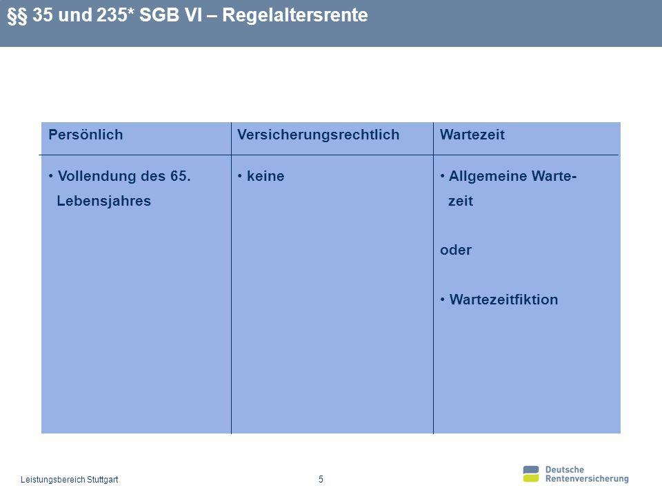 §§ 35 und 235* SGB VI – Regelaltersrente