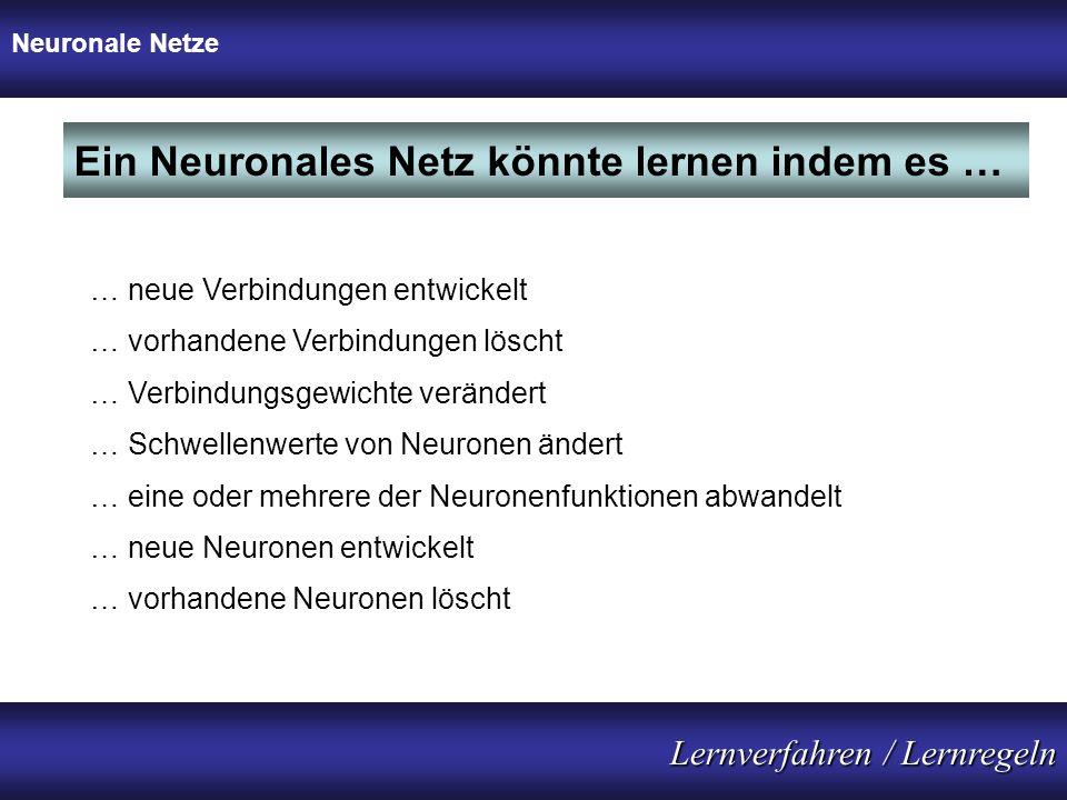 Ein Neuronales Netz könnte lernen indem es …