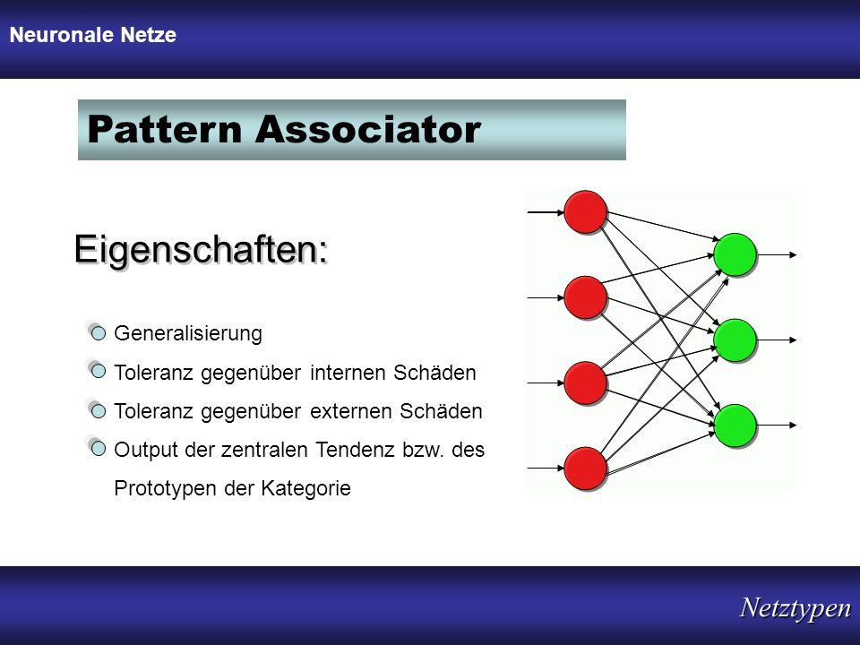 Pattern Associator Eigenschaften: Netztypen Neuronale Netze