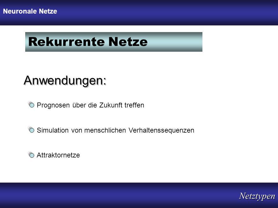 Rekurrente Netze Anwendungen: Netztypen Neuronale Netze