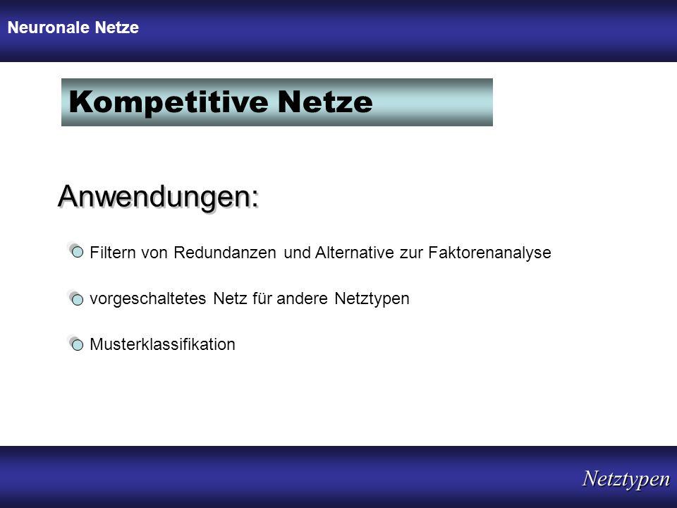 Kompetitive Netze Anwendungen: Netztypen Neuronale Netze