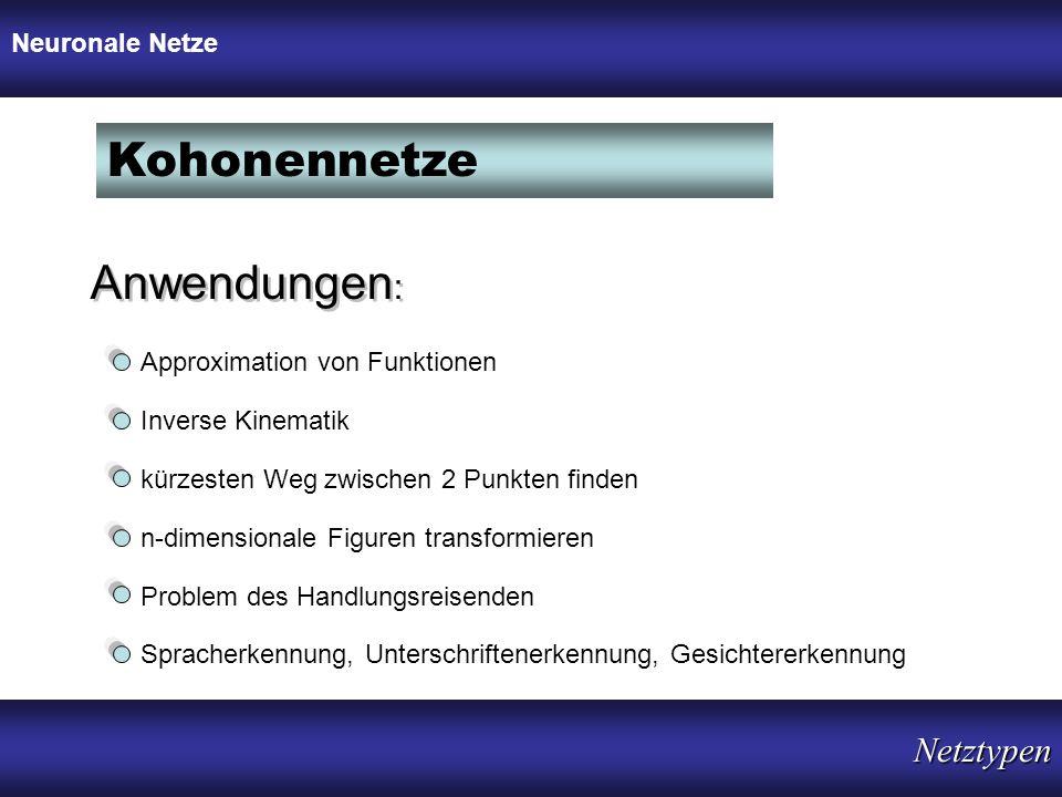 Kohonennetze Anwendungen: Netztypen Neuronale Netze