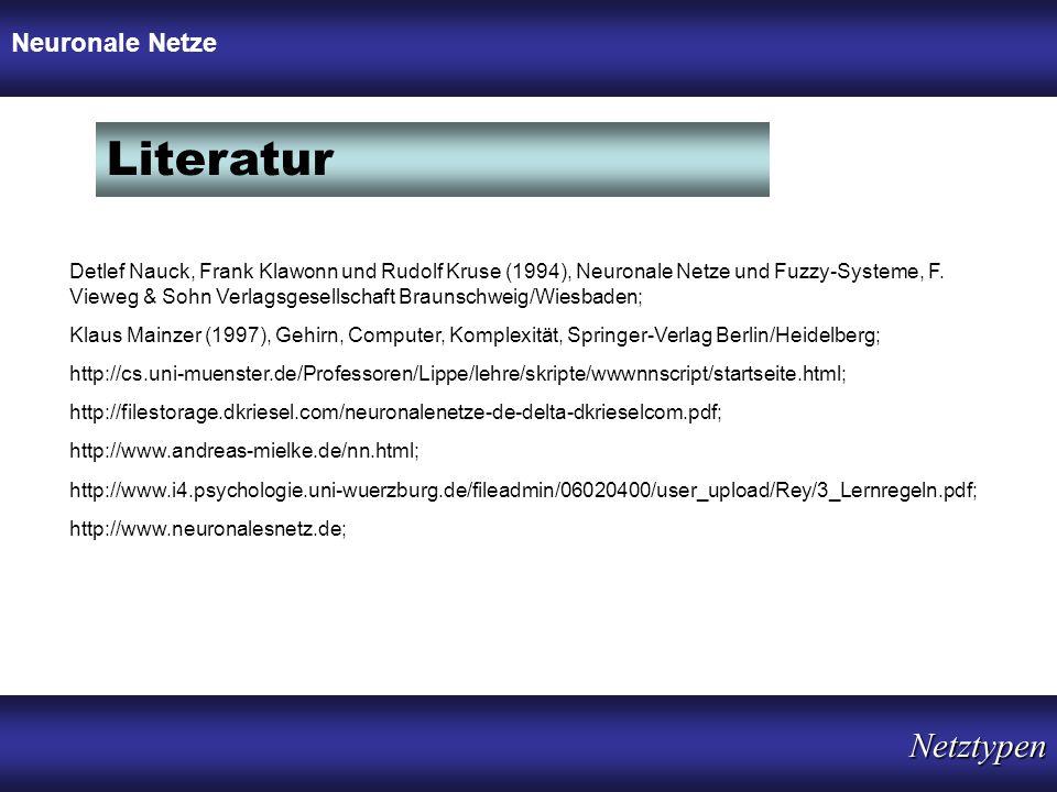 Literatur Netztypen Neuronale Netze