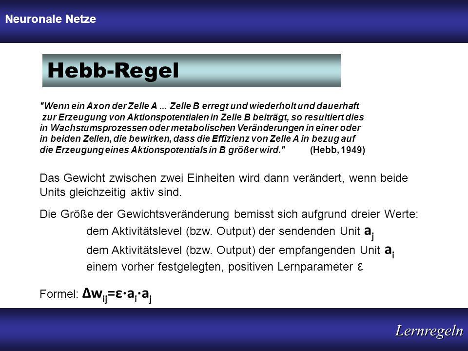 Hebb-Regel Lernregeln Neuronale Netze Neuronale Netze