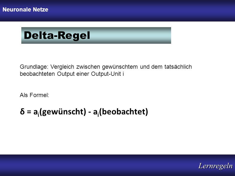 Delta-Regel δ = ai(gewünscht) - ai(beobachtet) Lernregeln