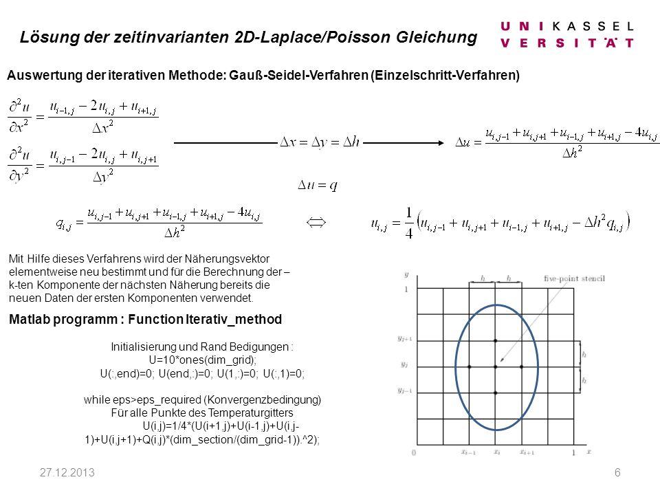 Lösung der zeitinvarianten 2D-Laplace/Poisson Gleichung