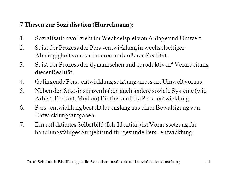 7 Thesen zur Sozialisation (Hurrelmann):