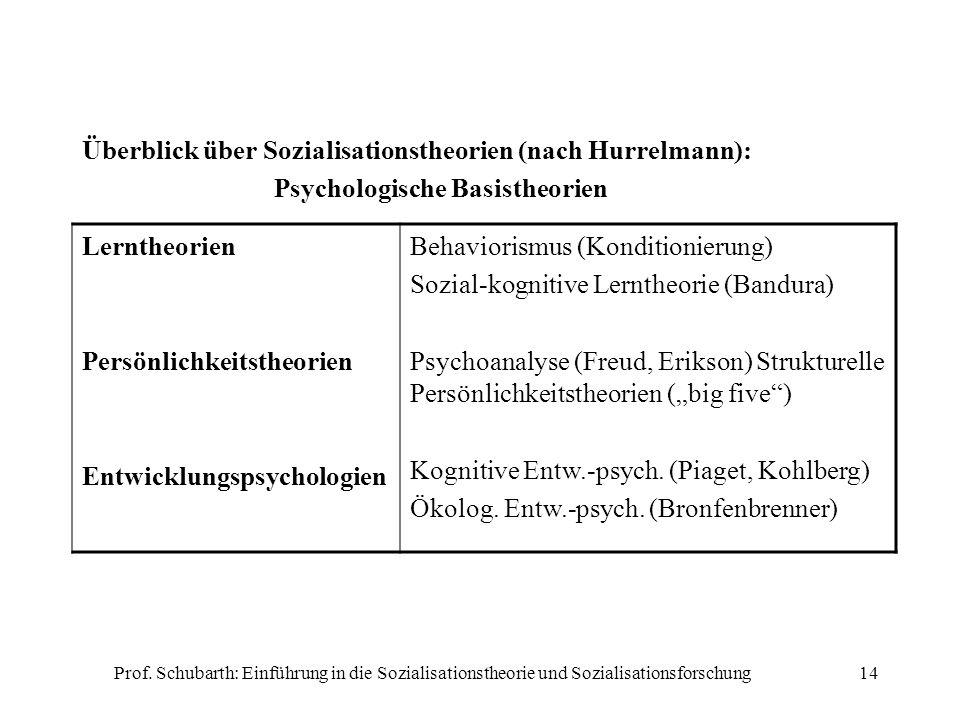 Überblick über Sozialisationstheorien (nach Hurrelmann):