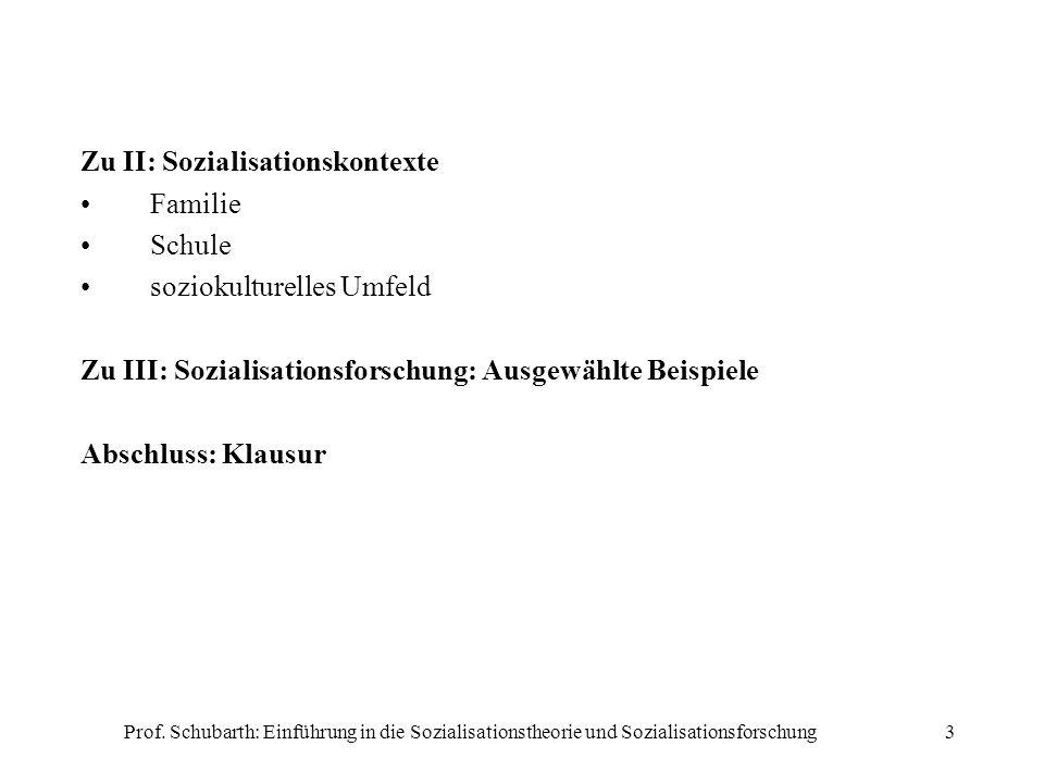 Zu II: Sozialisationskontexte Familie Schule soziokulturelles Umfeld