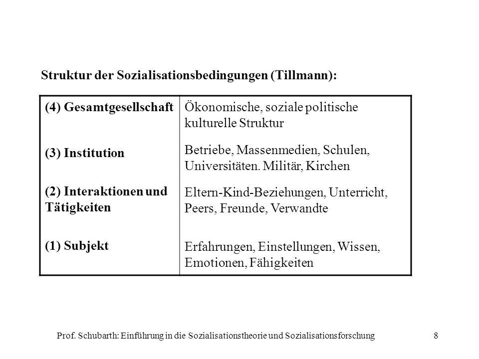 Struktur der Sozialisationsbedingungen (Tillmann):