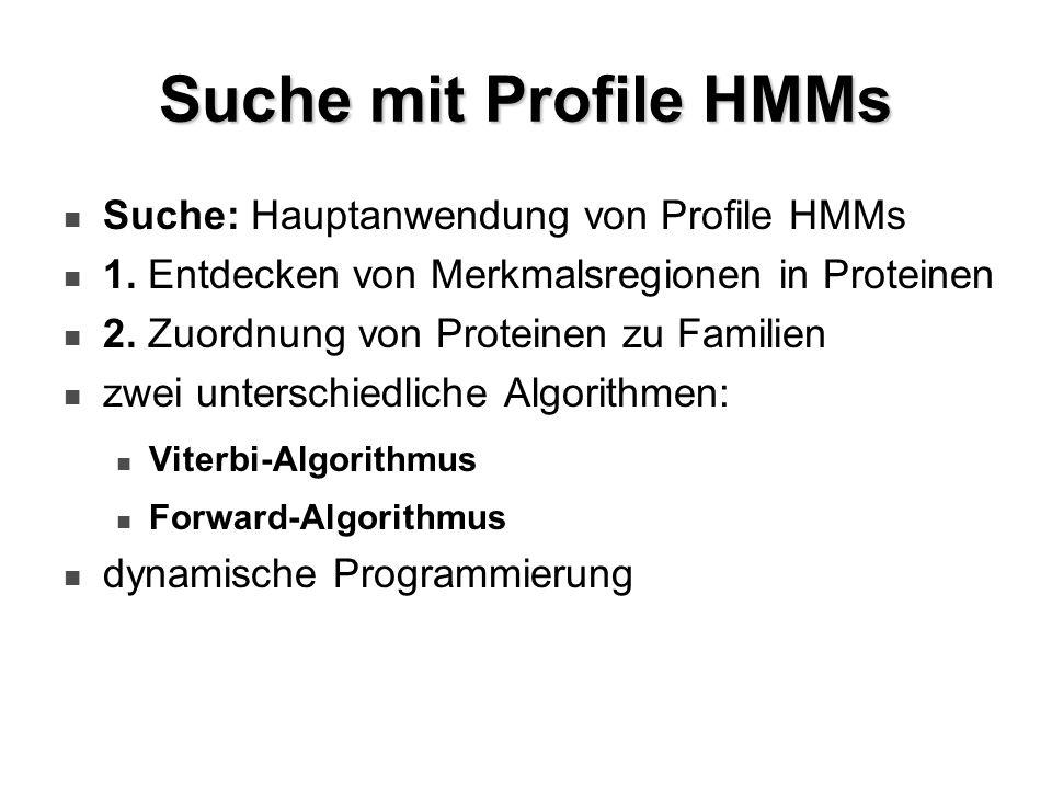 Suche mit Profile HMMs Suche: Hauptanwendung von Profile HMMs