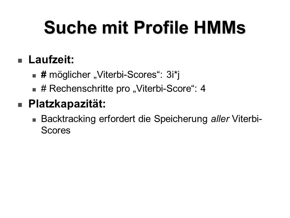 Suche mit Profile HMMs Laufzeit: Platzkapazität: