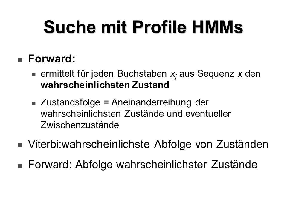 Suche mit Profile HMMs Forward: