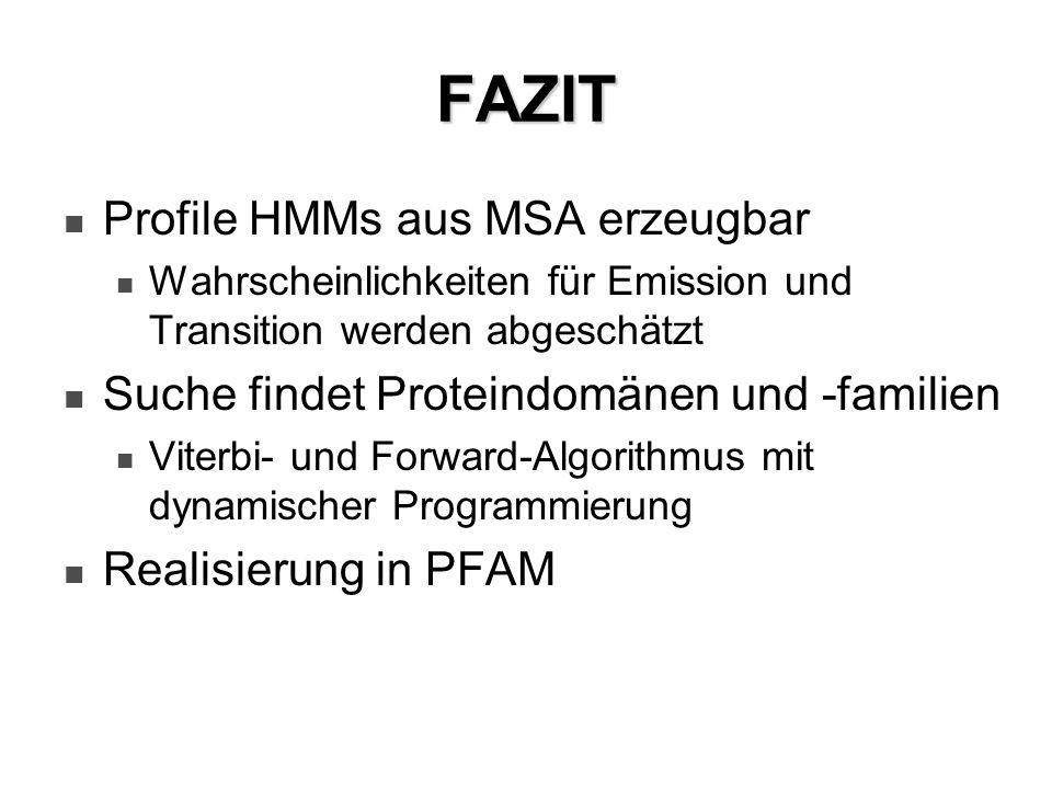 FAZIT Profile HMMs aus MSA erzeugbar