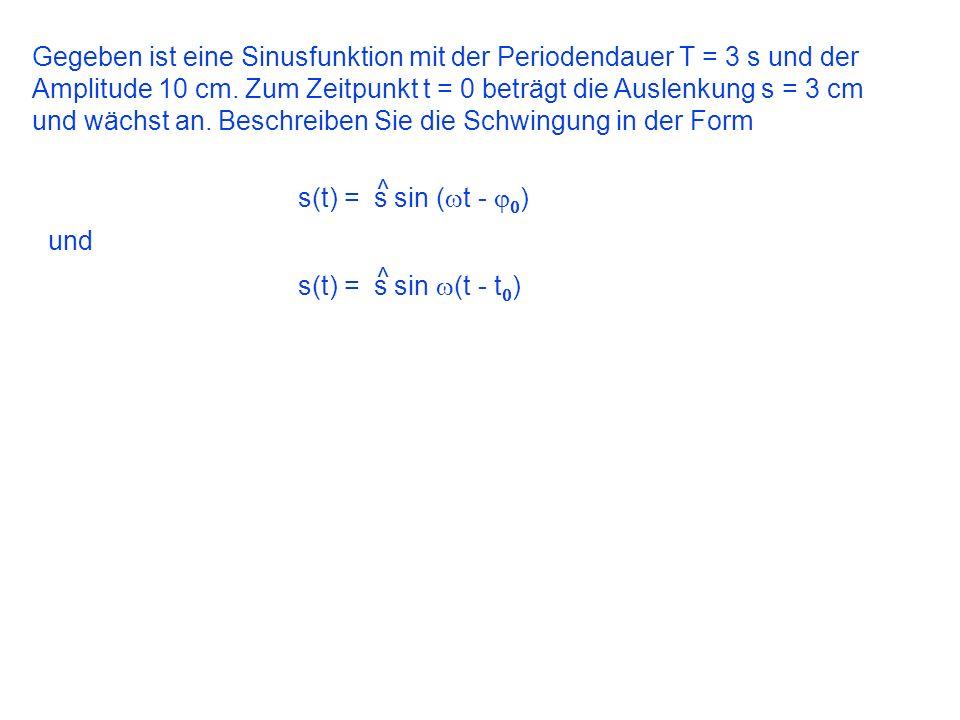 Gegeben ist eine Sinusfunktion mit der Periodendauer T = 3 s und der