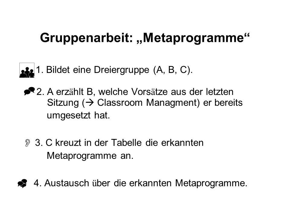 "Gruppenarbeit: ""Metaprogramme"