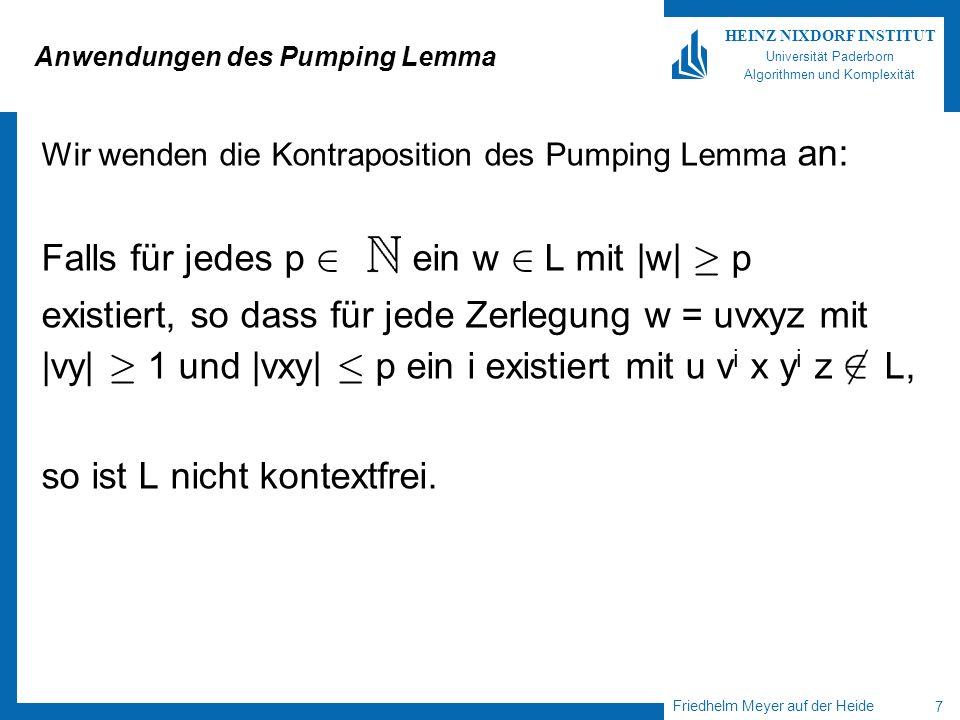 Anwendungen des Pumping Lemma