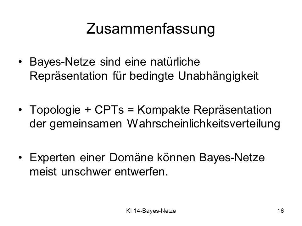 Zusammenfassung Bayes-Netze sind eine natürliche Repräsentation für bedingte Unabhängigkeit.