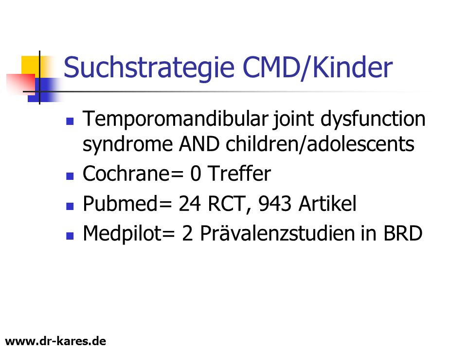 Suchstrategie CMD/Kinder