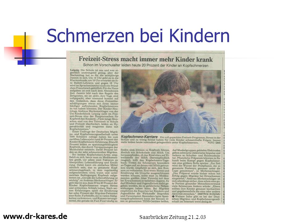 Schmerzen bei Kindern Saarbrücker Zeitung 21.2.03