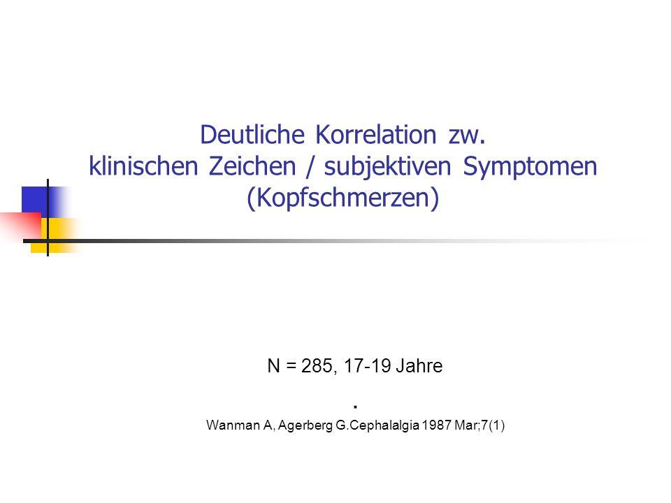 N = 285, 17-19 Jahre . Wanman A, Agerberg G.Cephalalgia 1987 Mar;7(1)