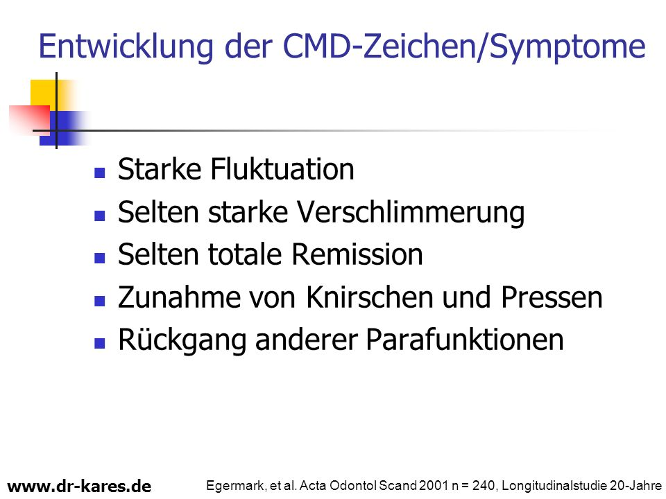 Entwicklung der CMD-Zeichen/Symptome