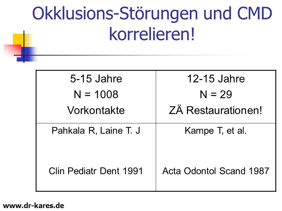 Okklusions-Störungen und CMD korrelieren!