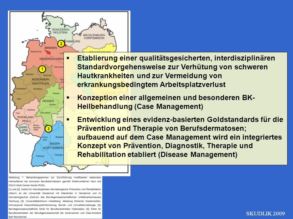 Etablierung einer qualitätsgesicherten, interdisziplinären Standardvorgehensweise zur Verhütung von schweren Hautkrankheiten und zur Vermeidung von erkrankungsbedingtem Arbeitsplatzverlust