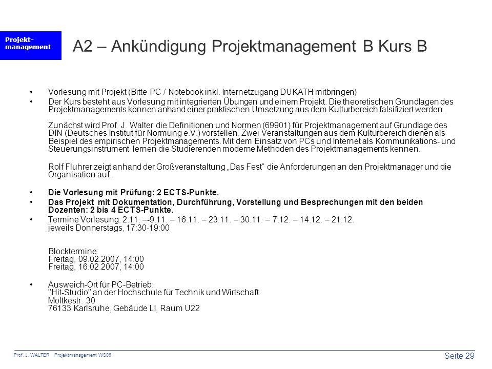 A2 – Ankündigung Projektmanagement B Kurs B