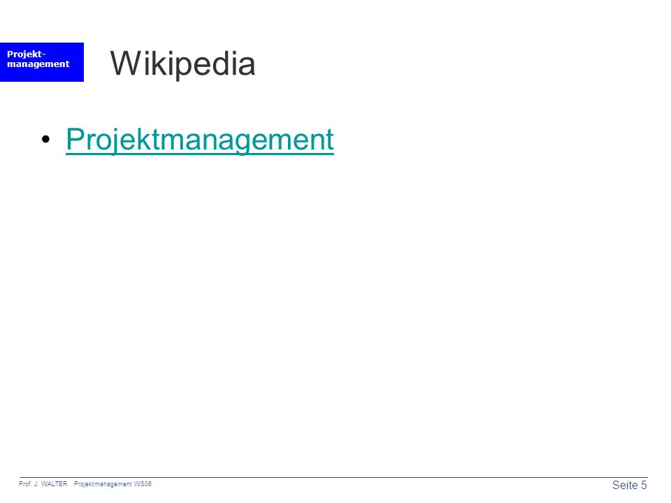 Wikipedia Projektmanagement