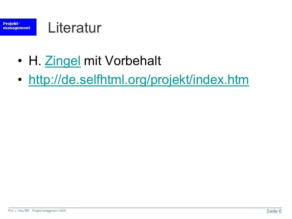 Literatur H. Zingel mit Vorbehalt