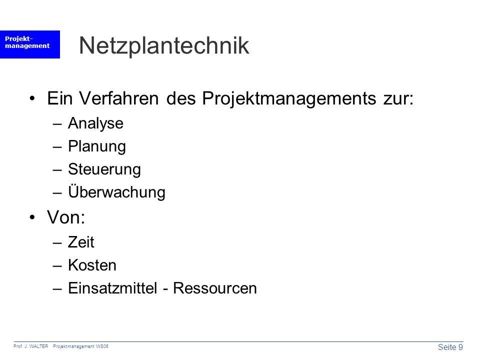 Netzplantechnik Ein Verfahren des Projektmanagements zur: Von: Analyse