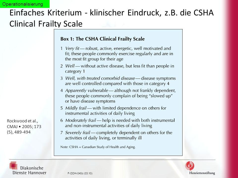 OperationalisierungEinfaches Kriterium - klinischer Eindruck, z.B. die CSHA Clinical Frailty Scale.