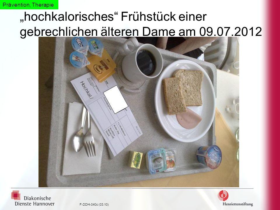 """Prävention, Therapie """"hochkalorisches Frühstück einer gebrechlichen älteren Dame am 09.07.2012"""