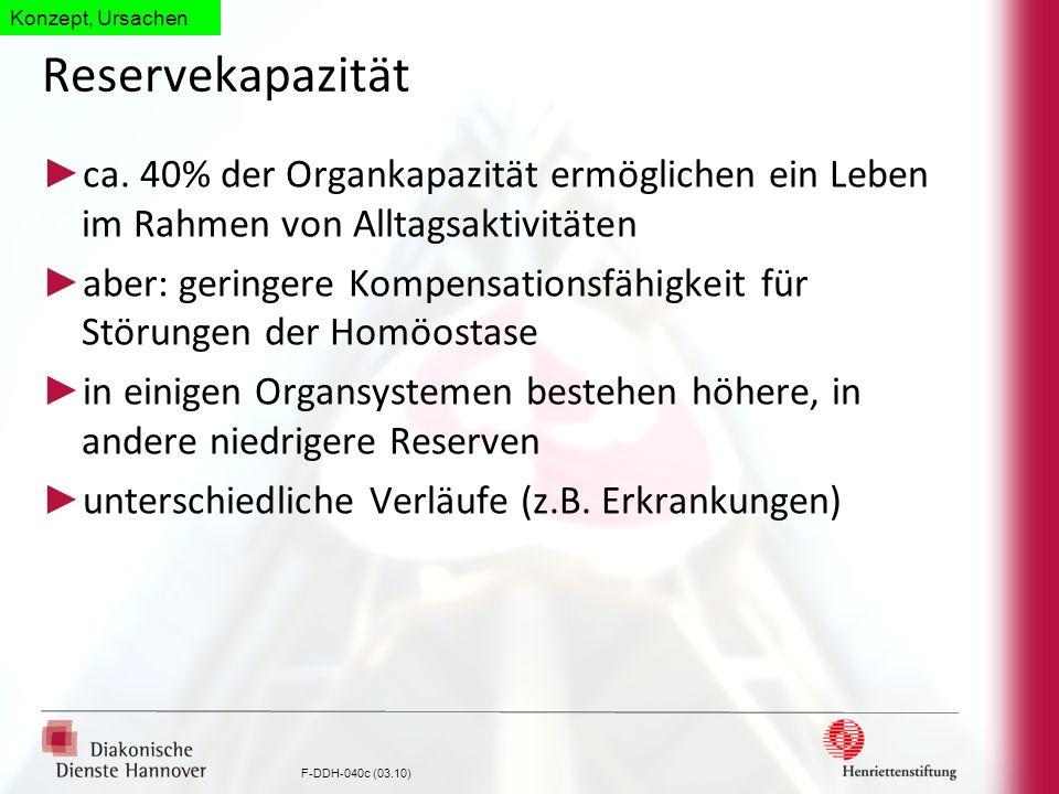 Konzept, Ursachen Reservekapazität. ca. 40% der Organkapazität ermöglichen ein Leben im Rahmen von Alltagsaktivitäten.