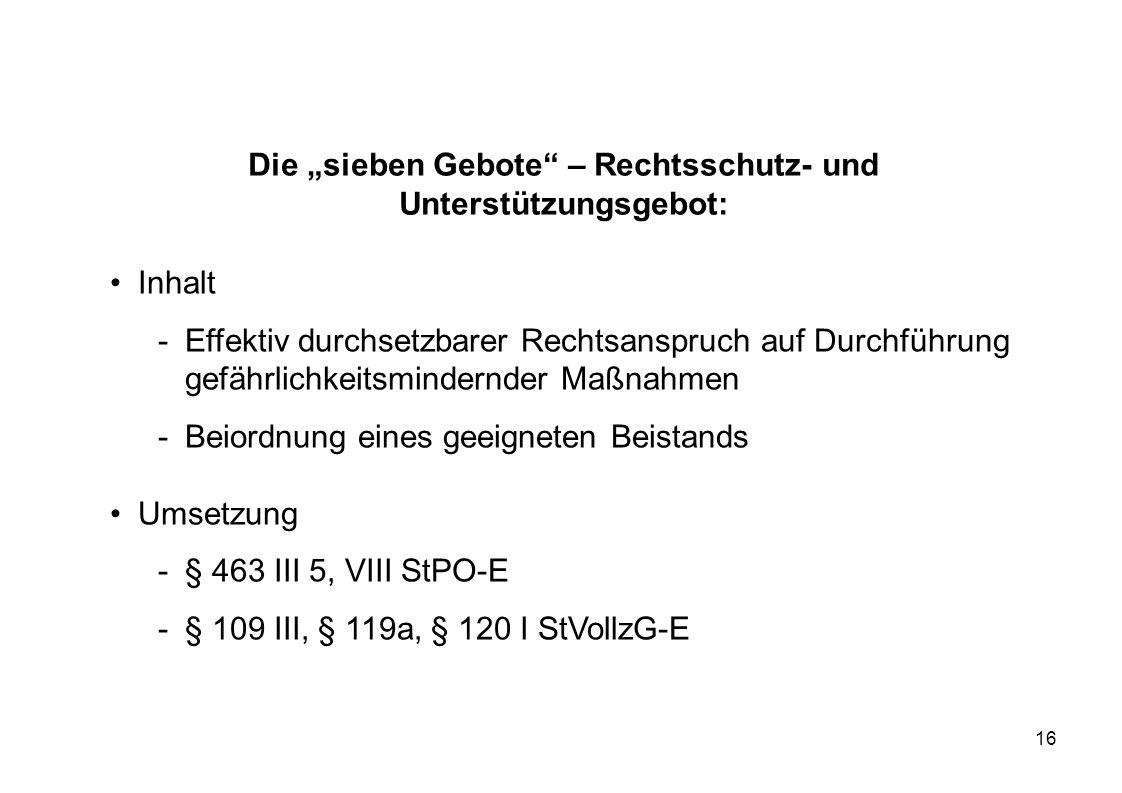 """Die """"sieben Gebote – Rechtsschutz- und Unterstützungsgebot:"""