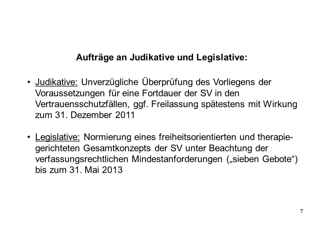 Aufträge an Judikative und Legislative: