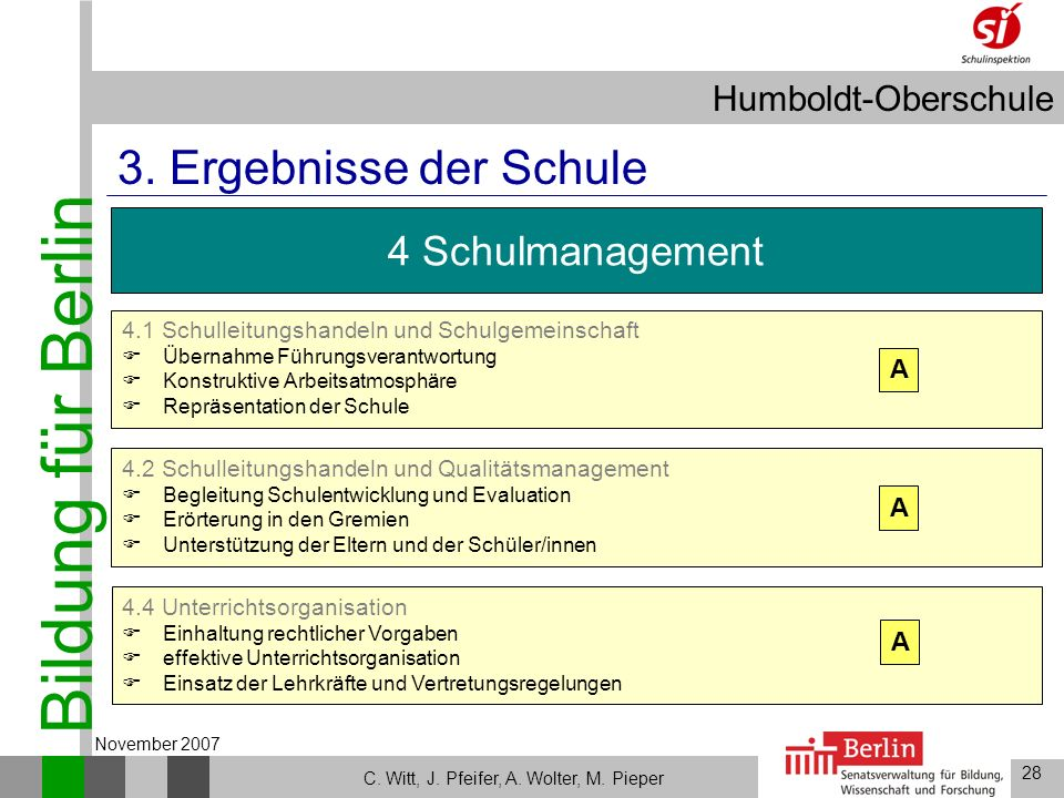 3. Ergebnisse der Schule 4 Schulmanagement A A A