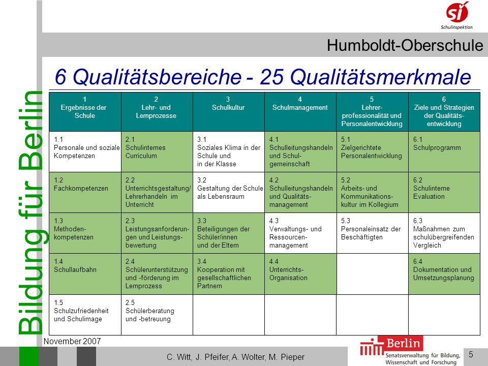 6 Qualitätsbereiche - 25 Qualitätsmerkmale November 2007 1