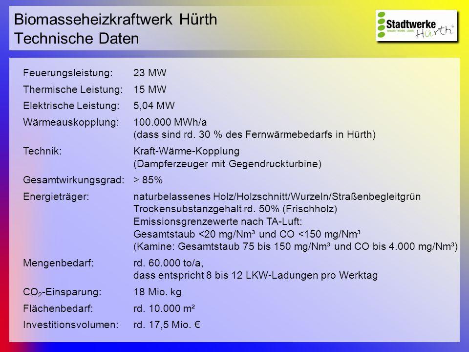 Biomasseheizkraftwerk Hürth Technische Daten