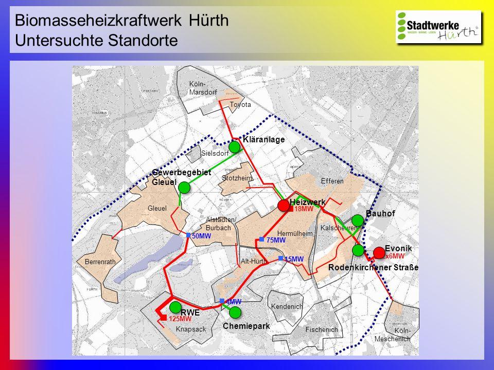 Biomasseheizkraftwerk Hürth Untersuchte Standorte