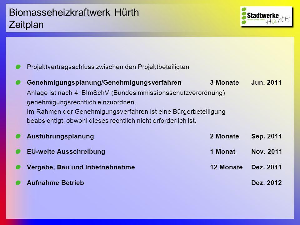 Biomasseheizkraftwerk Hürth Zeitplan
