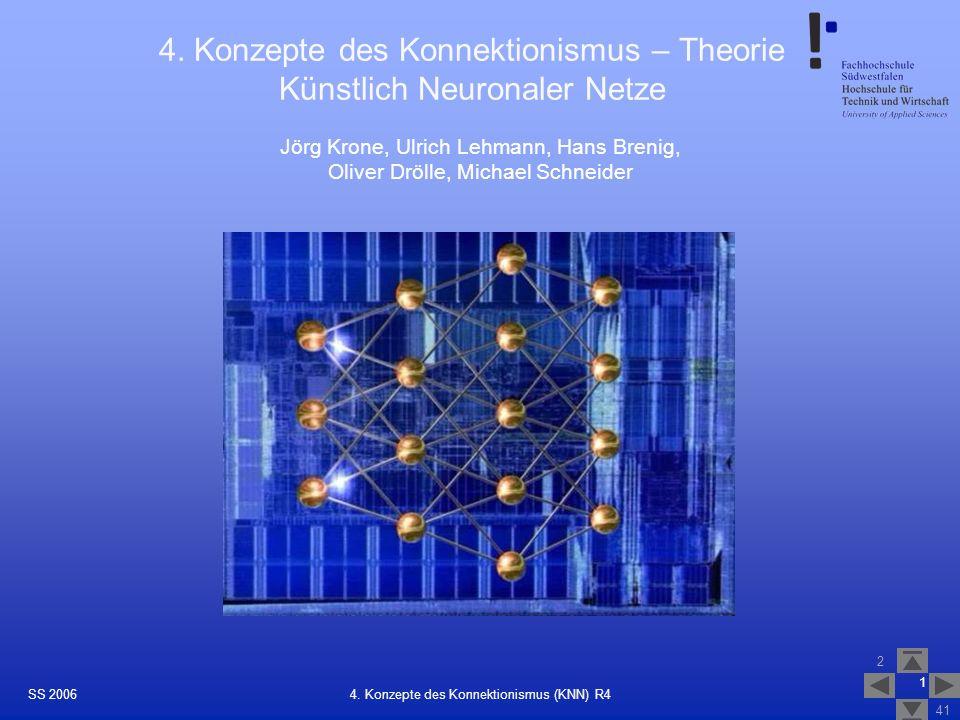 4. Konzepte des Konnektionismus – Theorie Künstlich Neuronaler Netze