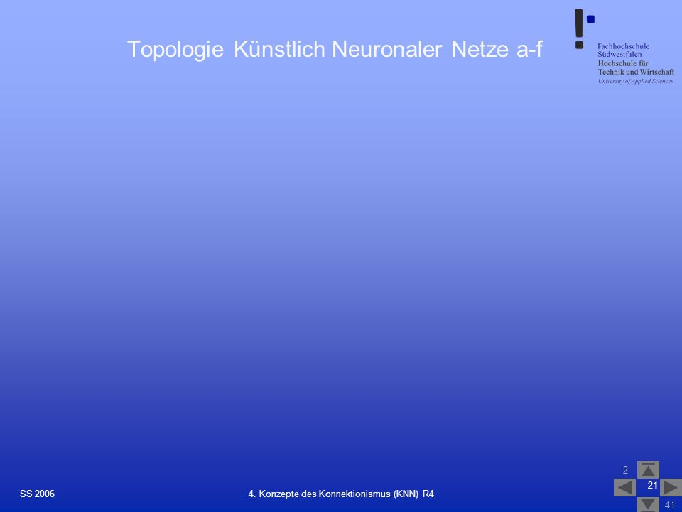 Topologie Künstlich Neuronaler Netze a-f