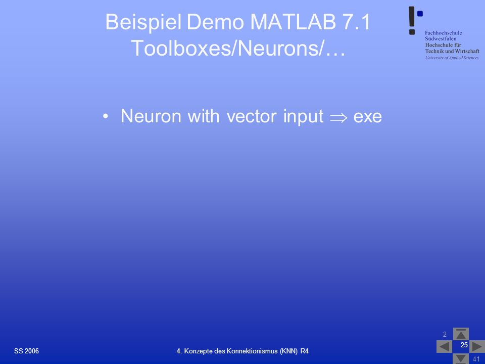 Beispiel Demo MATLAB 7.1 Toolboxes/Neurons/…