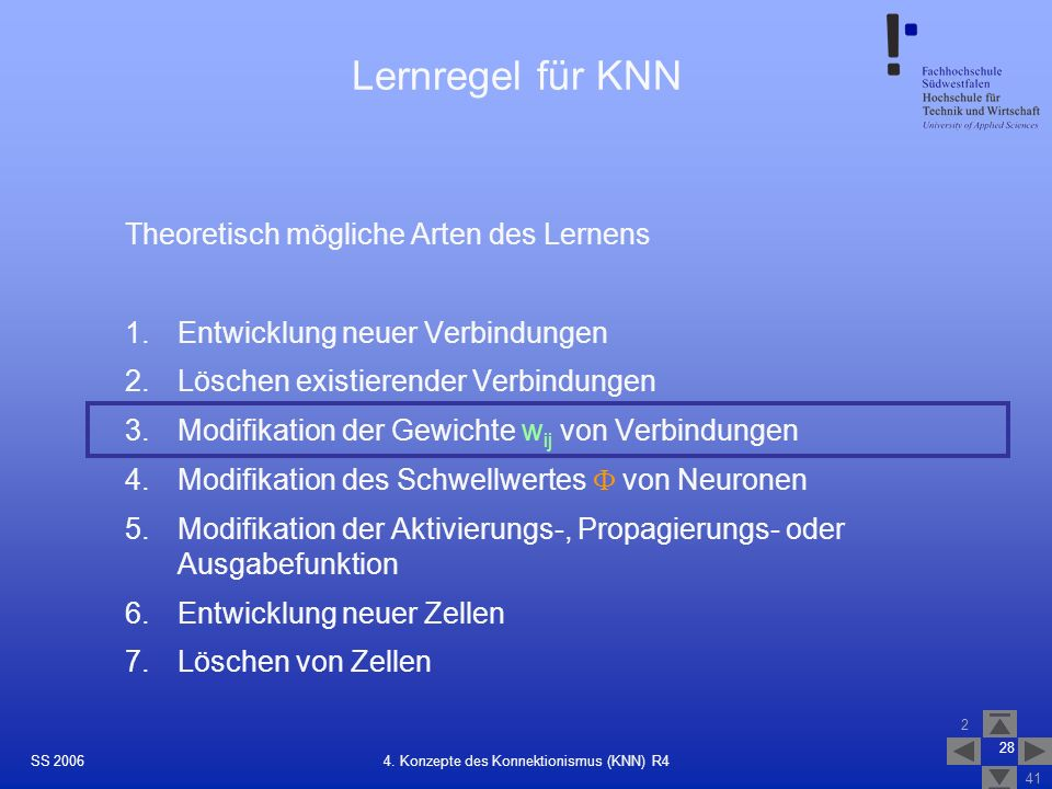 4. Konzepte des Konnektionismus (KNN) R4