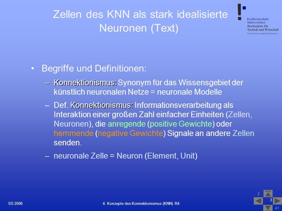 Zellen des KNN als stark idealisierte Neuronen (Text)