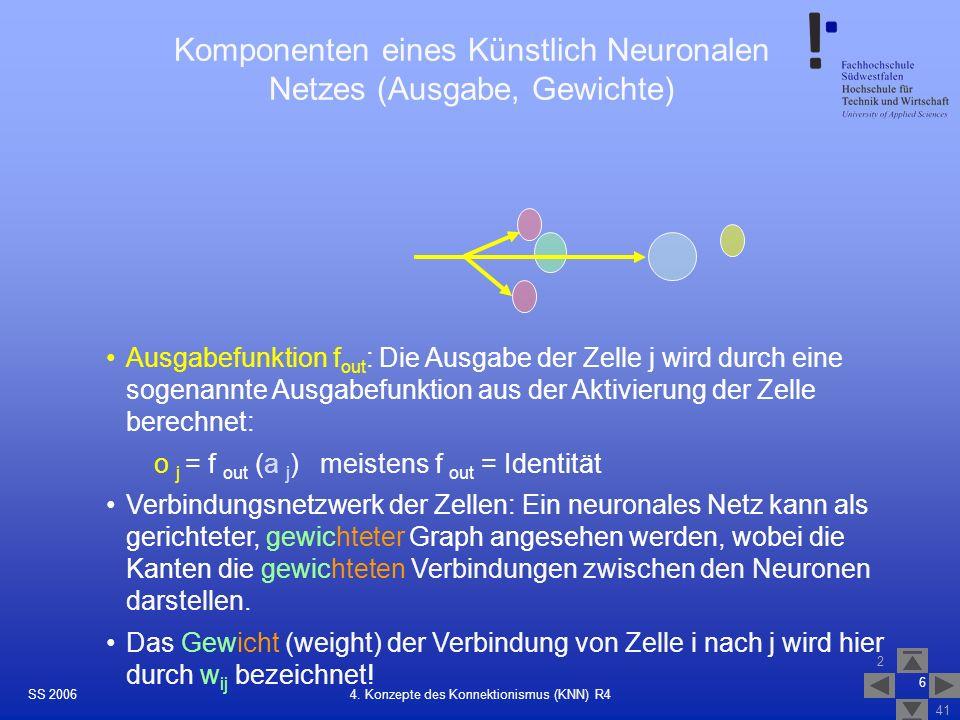 Komponenten eines Künstlich Neuronalen Netzes (Ausgabe, Gewichte)