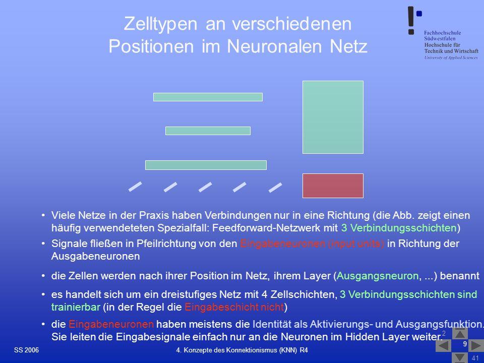 Zelltypen an verschiedenen Positionen im Neuronalen Netz